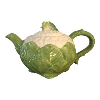 1985 Vintage Fitz and Floyd Cauliflower Teapot For Sale