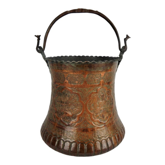 Large Moorish Copper & Pewter Pail For Sale