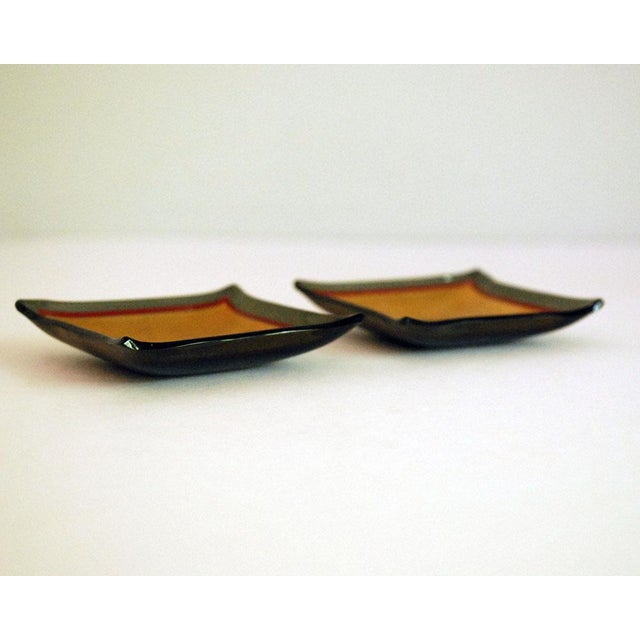 20th Century Hollywood Regency Bent Glass Butter Pats - a Pair For Sale - Image 4 of 6