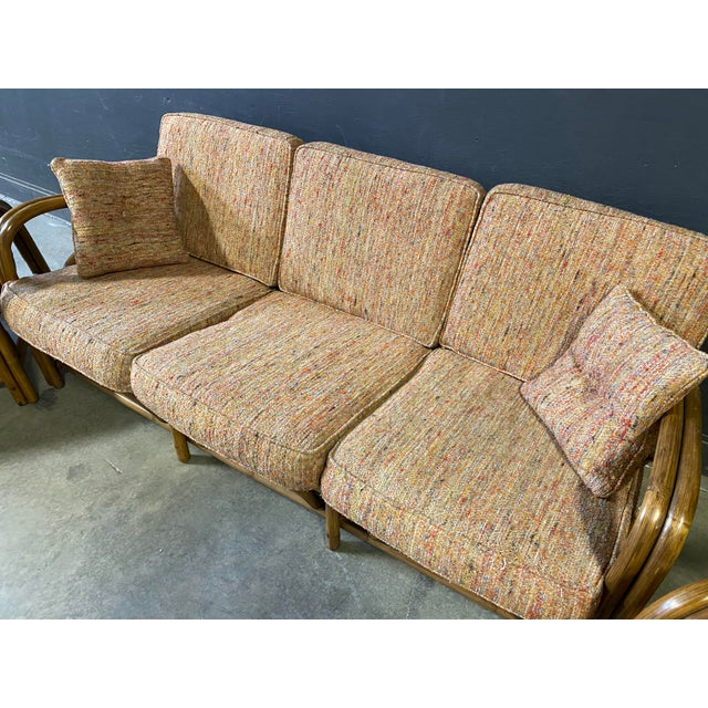 Mid-Century Modern Vintage Paul Frankl Style Rattan Couch & Chairs For Sale - Image 3 of 10