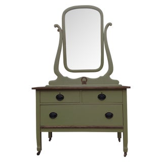Shabby Chic Olive Green Dresser With Mirror For Sale