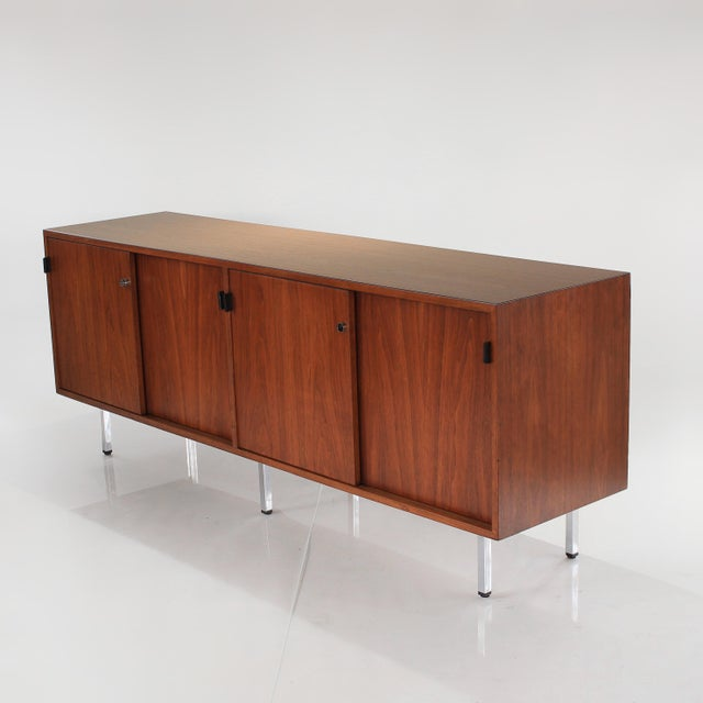 1960s Florence Knoll Walnut Credenza Sideboard For Sale In Charlotte - Image 6 of 13