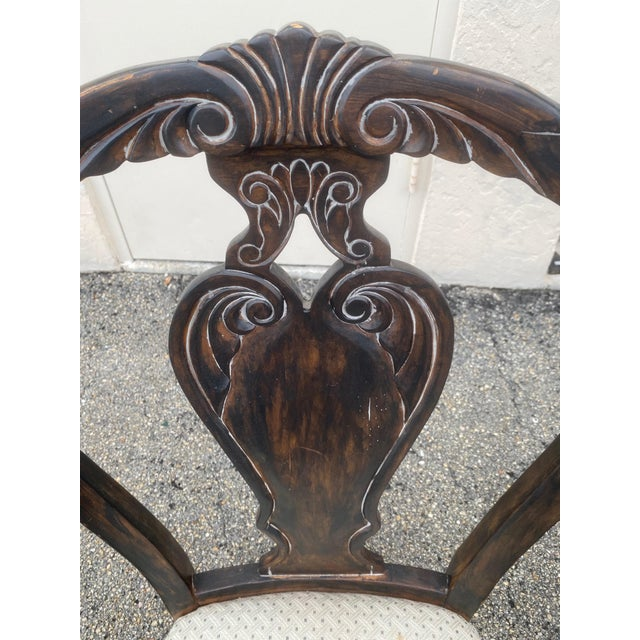 Chippendale Vintage Curved Carved Wood Chairs Set of 4 For Sale - Image 3 of 9