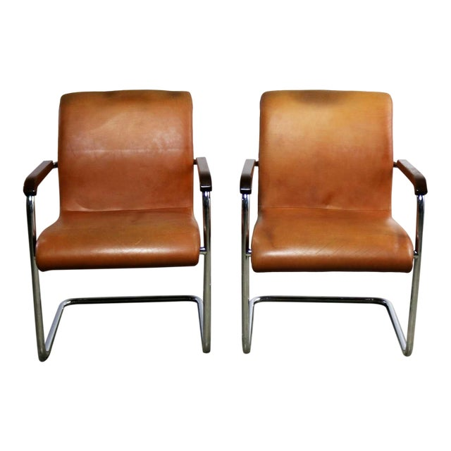 Interiors International Ltd Cantilevered Chrome And Cognac Leather Chairs By John Geiger
