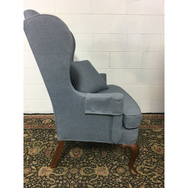 Queen Anne Style Blue Upholstered Wingback Chair - Image 3 of 6