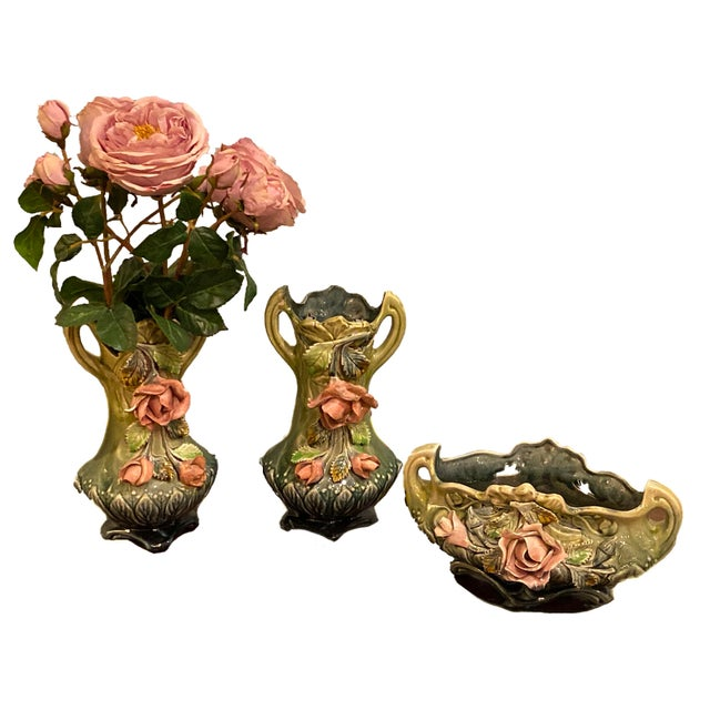Majolica Planter Vases and a Cachet Pot - Set of 3 For Sale - Image 10 of 11