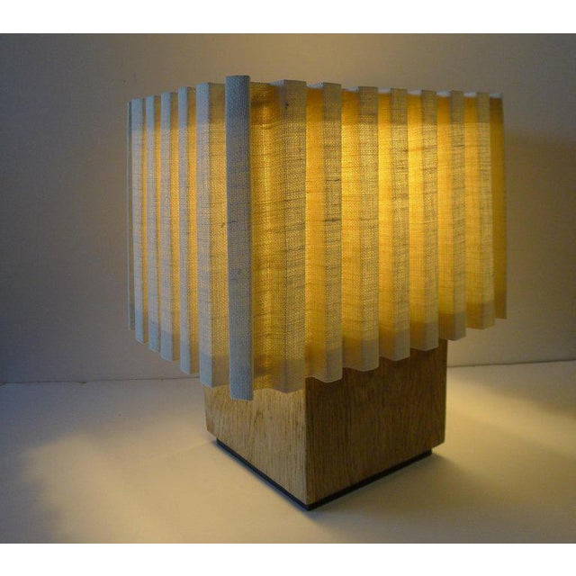 Contemporary Paul Marra Modern Distressed Oak Table Lamp For Sale - Image 3 of 8