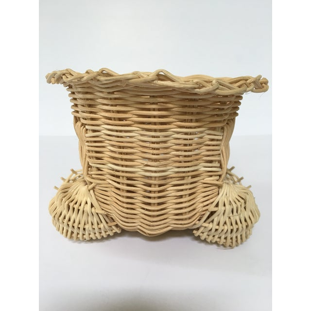 Wicker 20th Century Cottage Marble Eyed Wicker Frog Planter/Catchall For Sale - Image 7 of 10