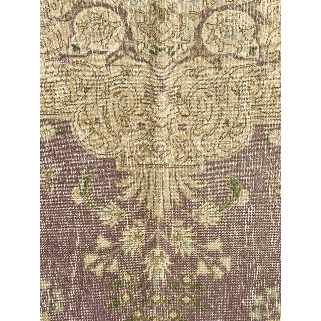 Large Antique Turkish Plum, Green, Beige Wool Rug - 9′5″ × 12′5″ For Sale In Los Angeles - Image 6 of 13