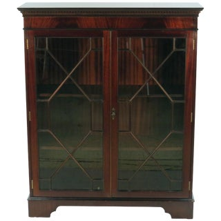 1960s English Traditional Mahogany Short Two Glass Door Bookcase For Sale