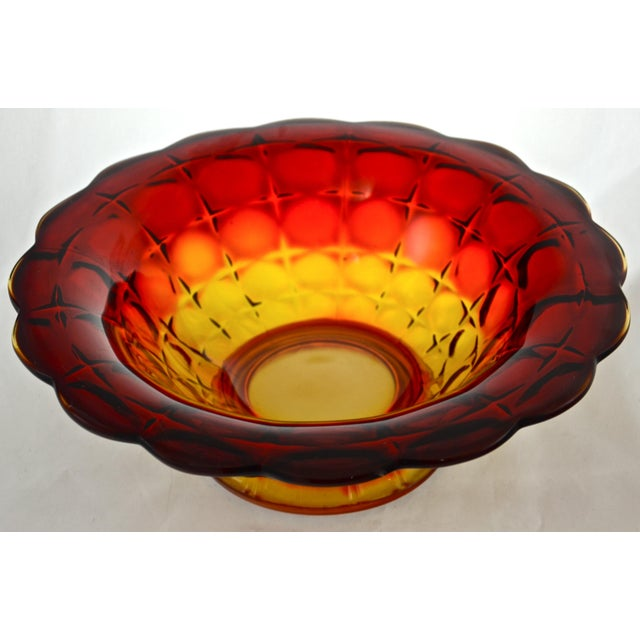 End-of-Season SALE!! Stunning large vintage amber to red (amberina) art glass centerpiece bowl with a star and indent...