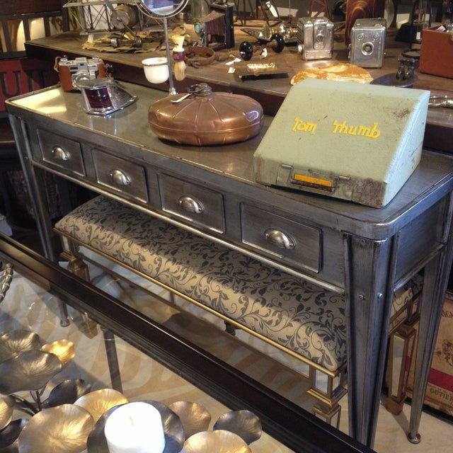 Silver Industrial Metal Console Table For Sale - Image 8 of 9