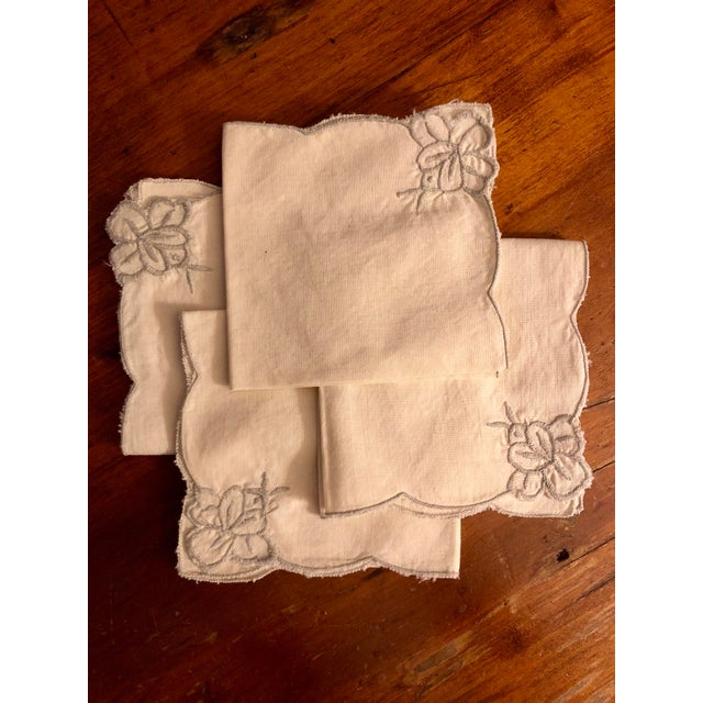 Shabby Chic Vintage Beige and Gray Cocktail Napkins - Set of 4 For Sale - Image 3 of 8