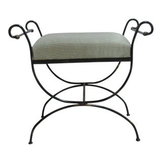 Vintage Wrought Scroll Iron Italian Regency Vanity Stool Bench Seat