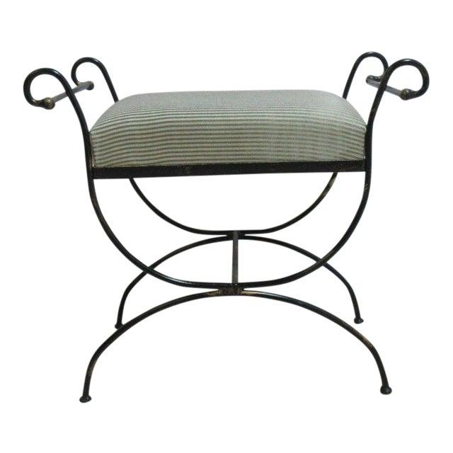 Vintage Wrought Scroll Iron Italian Regency Vanity Stool Bench Seat
