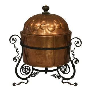 French Antique Copper Cauldron With Iron Stand For Sale