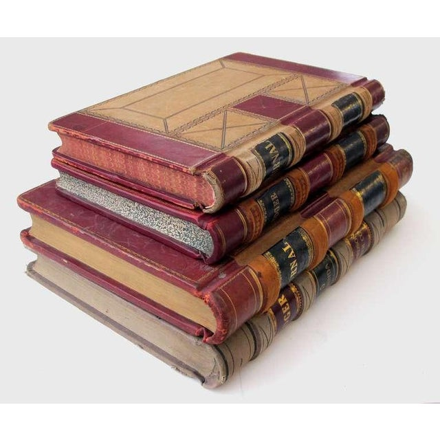 Mid-Century Modern A Large and Unique Set of 4 Leather-Bound Accounting Ledgers with Gilt Highlights For Sale - Image 3 of 6