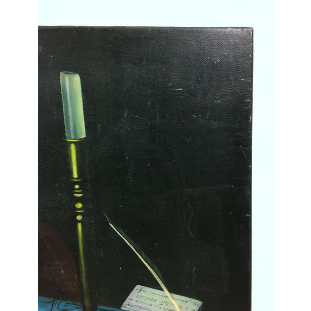 English Traditional Vintage Collier Style Study Room Items Still Life Painting For Sale - Image 3 of 7