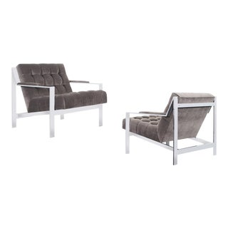 1970s Vintage Chrome Biscuit Tufted Lounge Chairs by Cy Mann - a Pair For Sale