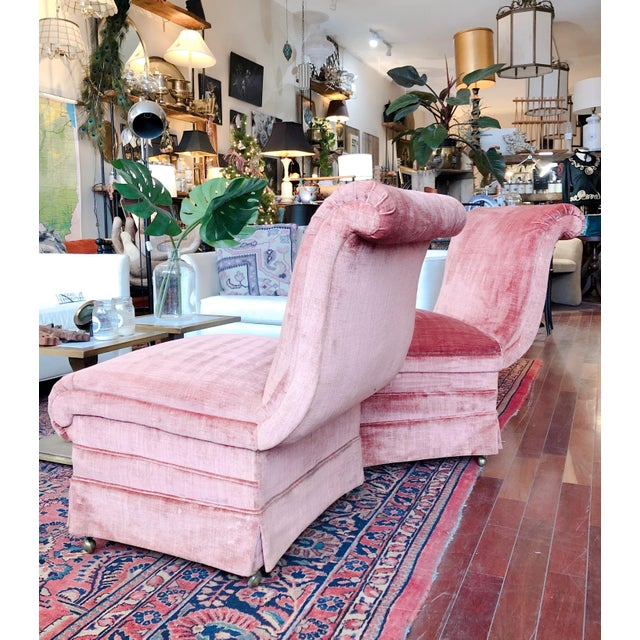 Curvilinear Pink Slipper Chairs- Pair For Sale - Image 11 of 13