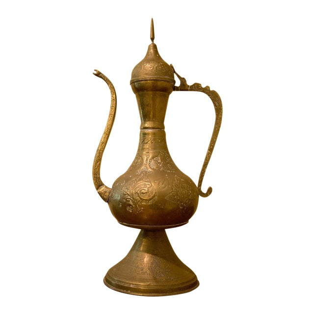 Vintage Moroccan Brass Tea Pot For Sale