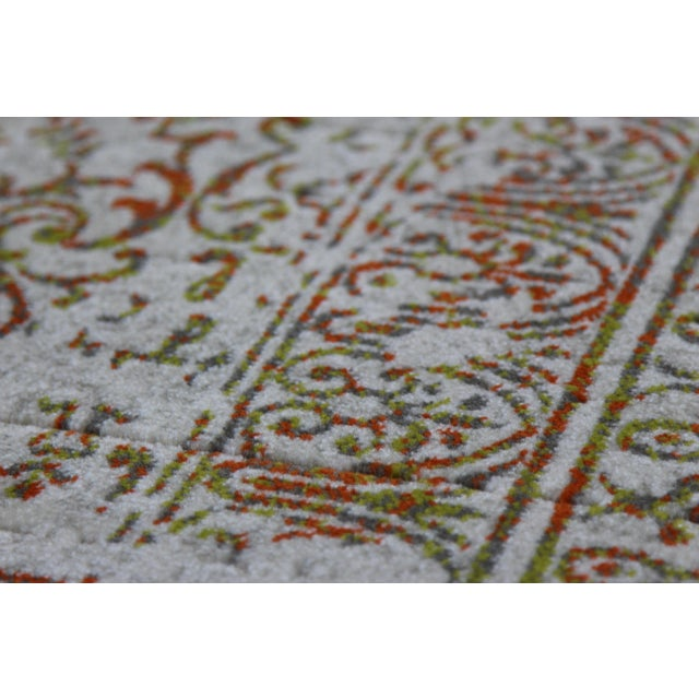 "Distressed Turkish Gray Orange Rug - 5'3"" x 7'7"" - Image 3 of 7"
