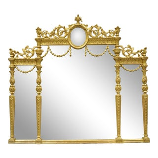 Italian French Louis XV Style Gold Giltwood Overmantle Console Wall Mirror For Sale