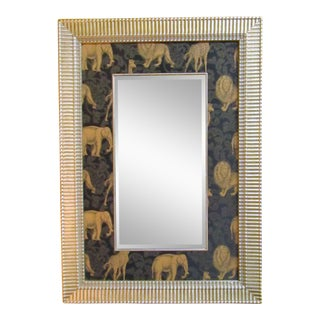 Safari Mirror With Animal Printed Fabric Mat For Sale