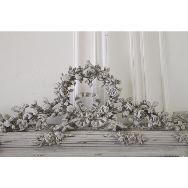 20th Century Carved & Painted French Mirror With Roses - Image 2 of 5