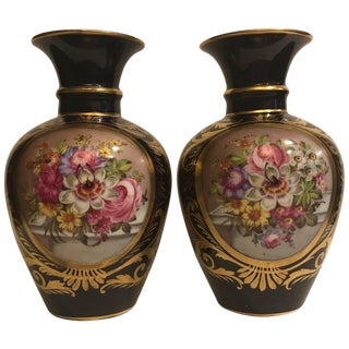 Early 19th Century Crown Derby Cabinet Vases - a Pair