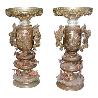 Highly Ornate Pair of Bronze Japanese Urns For Sale