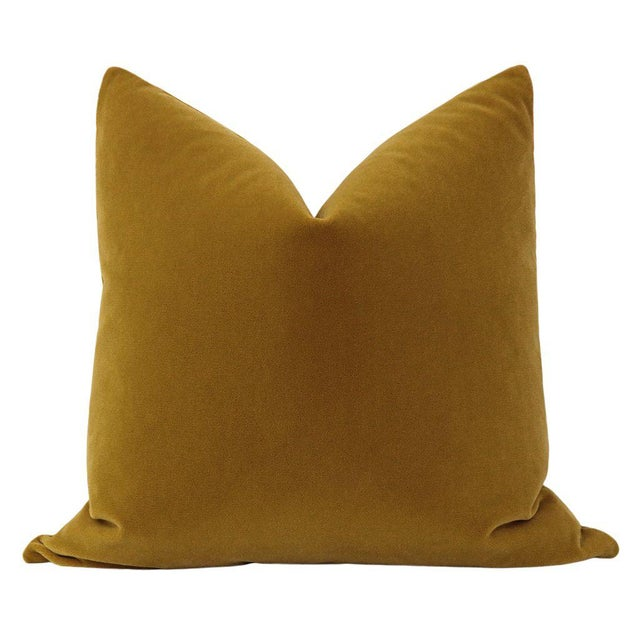 Pair of beautiful custom-made luxury mohair pillows in a saturated Tobacco colorway. Meticulously handcrafted with serged...