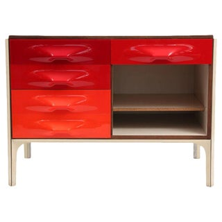 Raymond Loewy for Doubinsky Freres Red & Orange Df 2000 Chest / Slide Desk For Sale