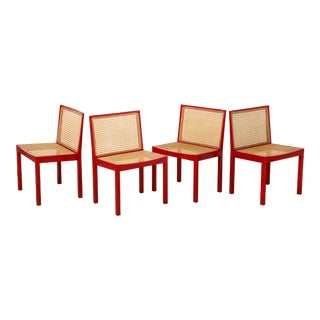 "Set of Four Red Lacquered ""Bankshuhl"" Chairs by Willy Guhl for Stendig For Sale"