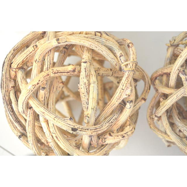 Americana Natural Windsor Knot Balls in Dried Wisteria Stems - a Pair For Sale - Image 3 of 10