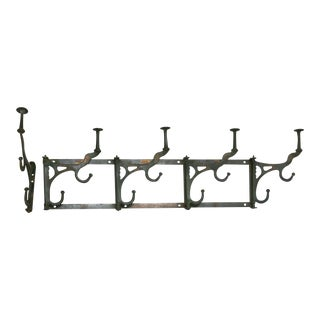 Antique Coat and Hat Rack and Single Hook - 2 Pieces For Sale