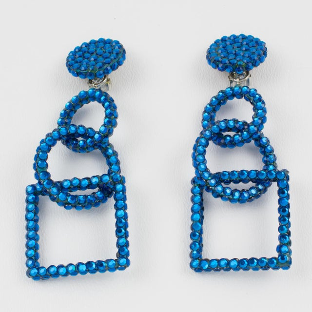Contemporary Richard Kerr Dangling Geometric Clip Earrings Cobalt Blue Rhinestones Paved For Sale - Image 3 of 7