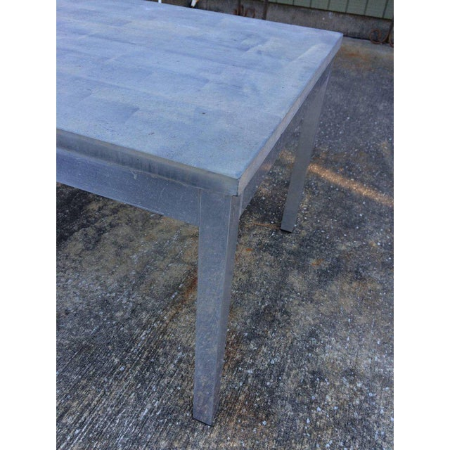 1990s Minimalistic Slate Coffee Table With Aluminum Base For Sale In New York - Image 6 of 11