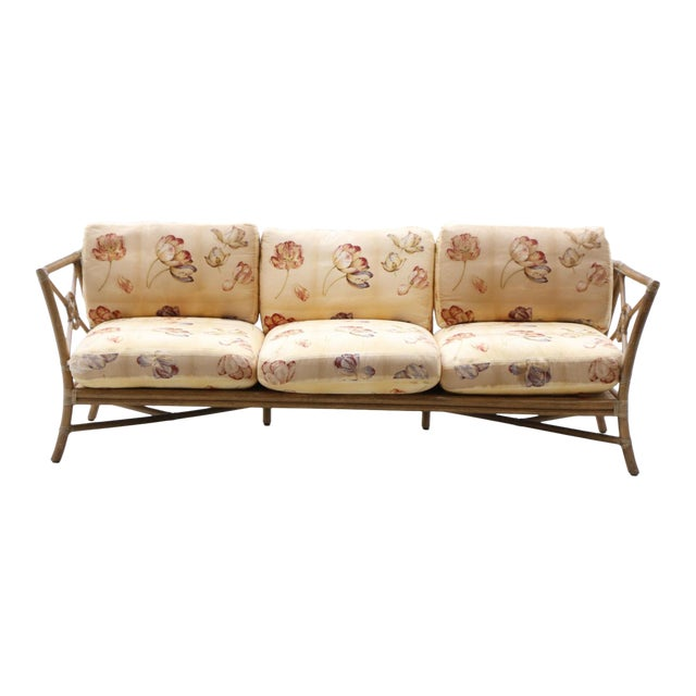 1980s Vintage McGuire Target Bamboo and Rattan Sofa For Sale