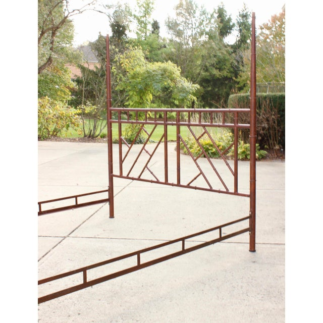 Vintage Chippendale Iron Bamboo Fretwork King 4 Poster Canopy Bedframe For Sale In Columbus - Image 6 of 11
