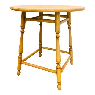 """27"""" Primitive Yellow 1920s Accent Table For Sale"""