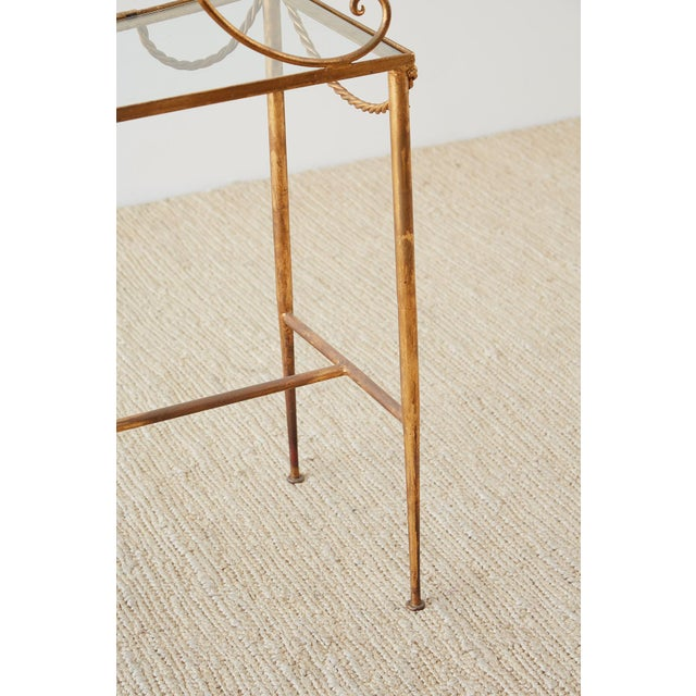 Hollywood Regency Gilt Iron and Faux Rope Vanity For Sale - Image 11 of 13