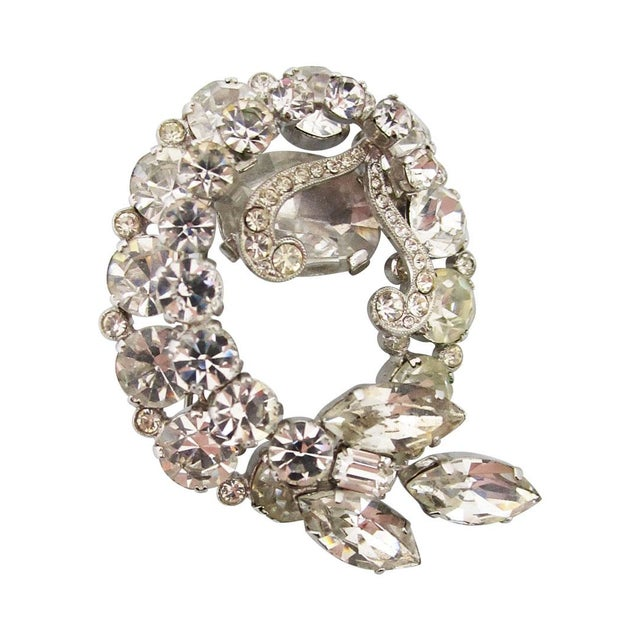 1950s Vintage Austrian Rhinestone Brooch For Sale - Image 5 of 5