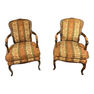 Antique French Tapestry Arm Chairs- a Pair For Sale
