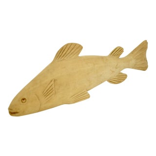Natural Carved Wood Fish Figurine For Sale