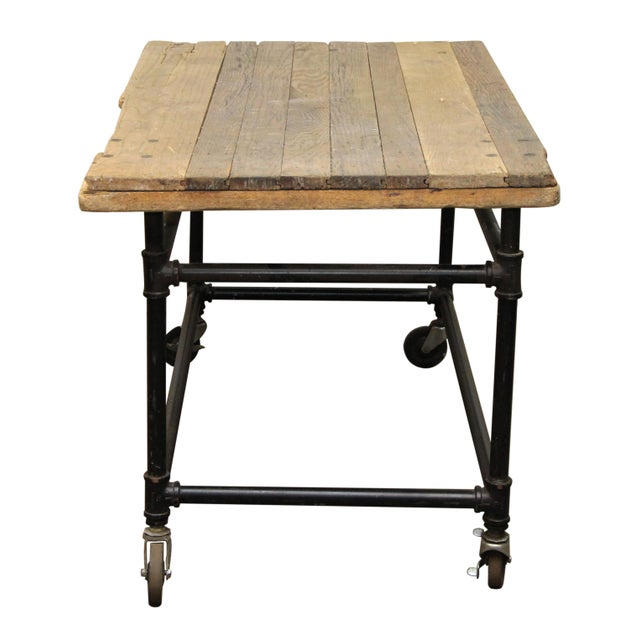 Rustic Work Table on Wheels For Sale - Image 4 of 6