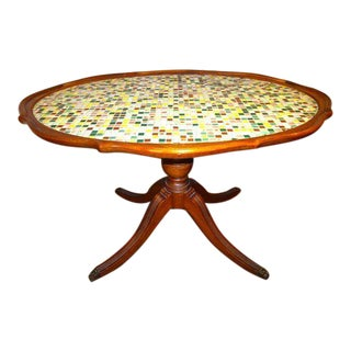 Vintage Mahogany Claw Foot Mosaic Coffee Table For Sale