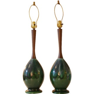 Mid-Century Glazed Ceramic & Walnut Lamps - A Pair