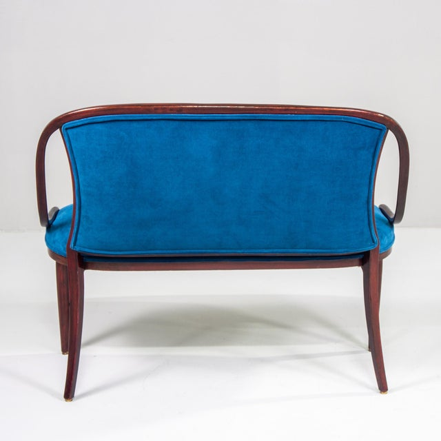 Thonet Bentwood Settee With New Teal Blue Velvet Upholstery For Sale - Image 9 of 10