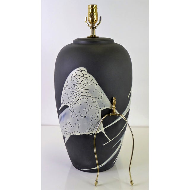 1960s Black N White Lava Glaze Pottery Table Lamp For Sale - Image 12 of 12